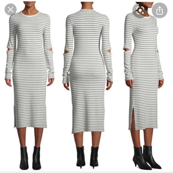 NEW NWT Current Elliot Quince Stripe Midi Dress 1